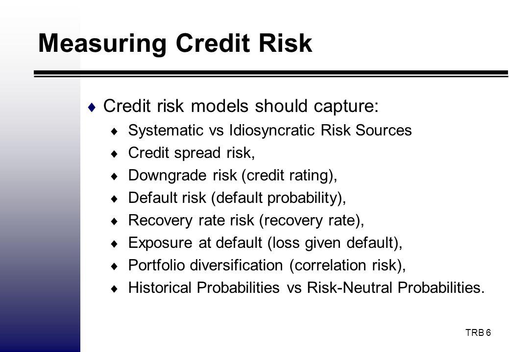 Measuring Credit Risk Credit risk models should capture: