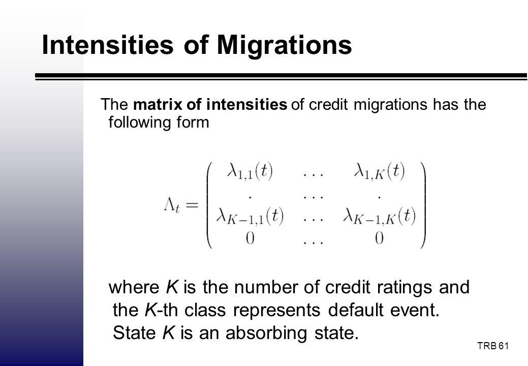 Intensities of Migrations