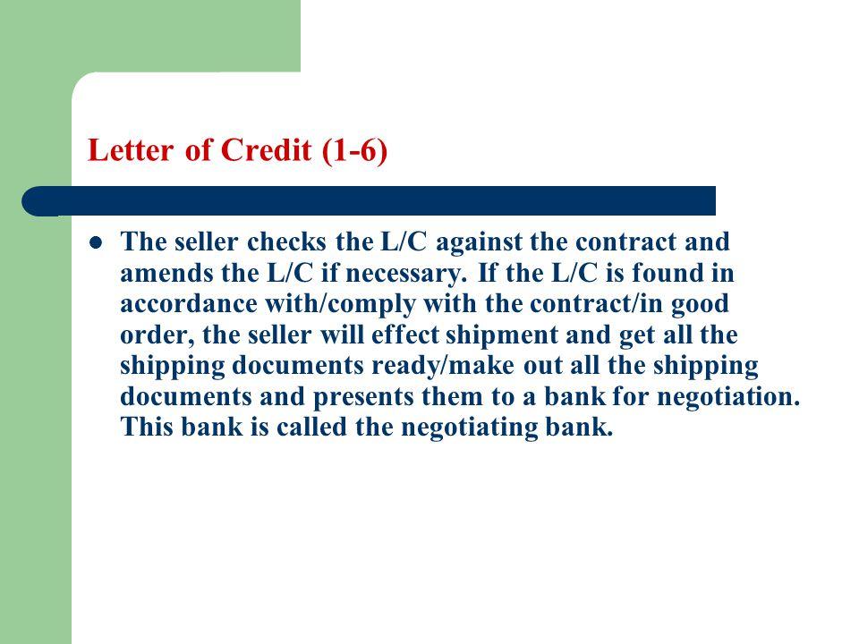 Letter of Credit (1-6)