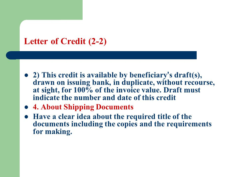 Letter of Credit (2-2)