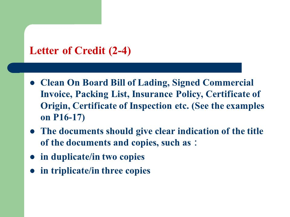 Letter of Credit (2-4)