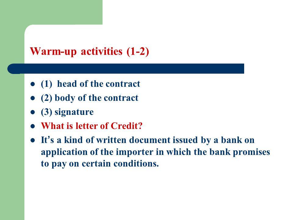 Warm-up activities (1-2)