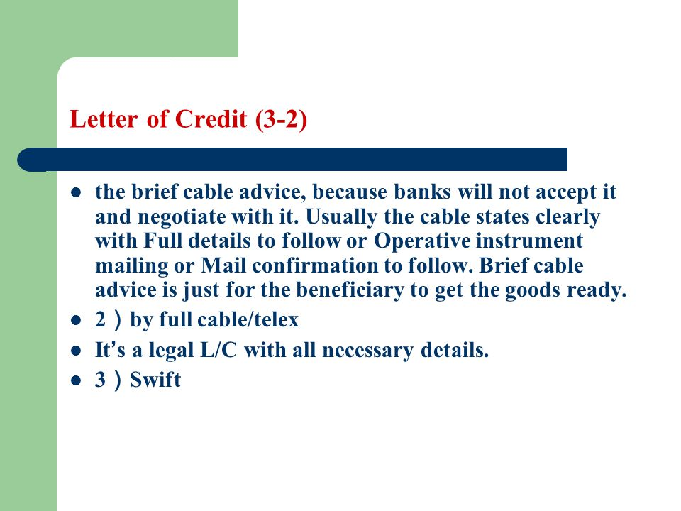 Letter of Credit (3-2)