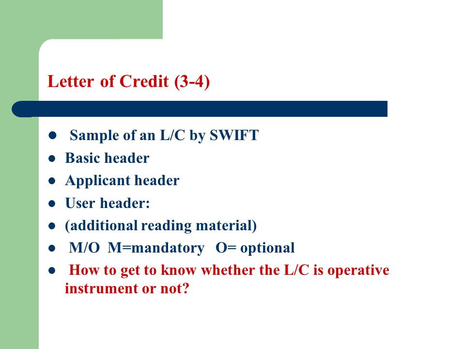 Sample of an L/C by SWIFT