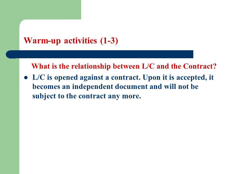 Warm-up activities (1-3)