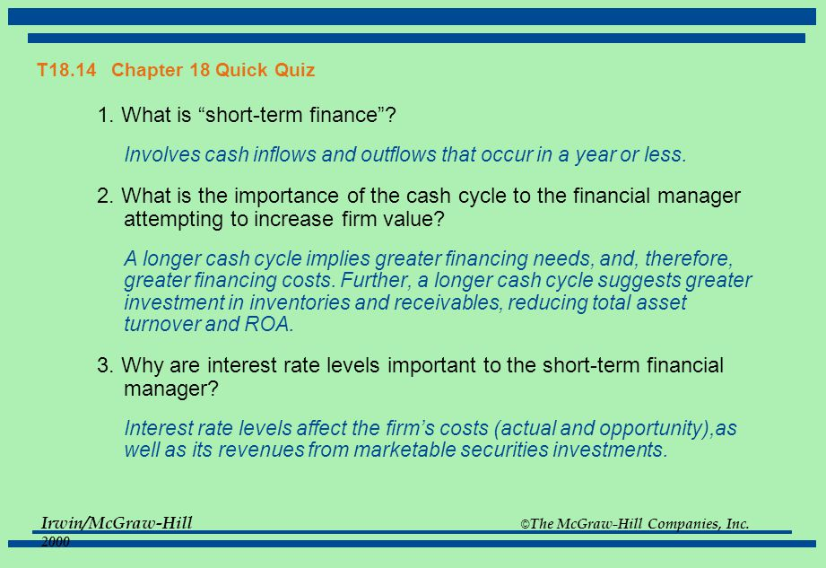 1. What is short-term finance