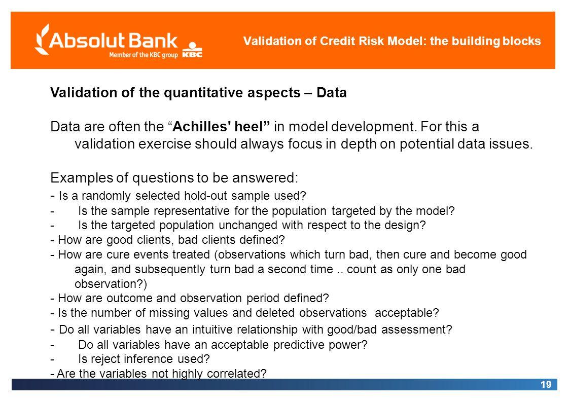 Validation of Credit Risk Model: the building blocks
