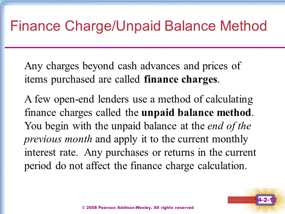 Finance Charge/Unpaid Balance Method