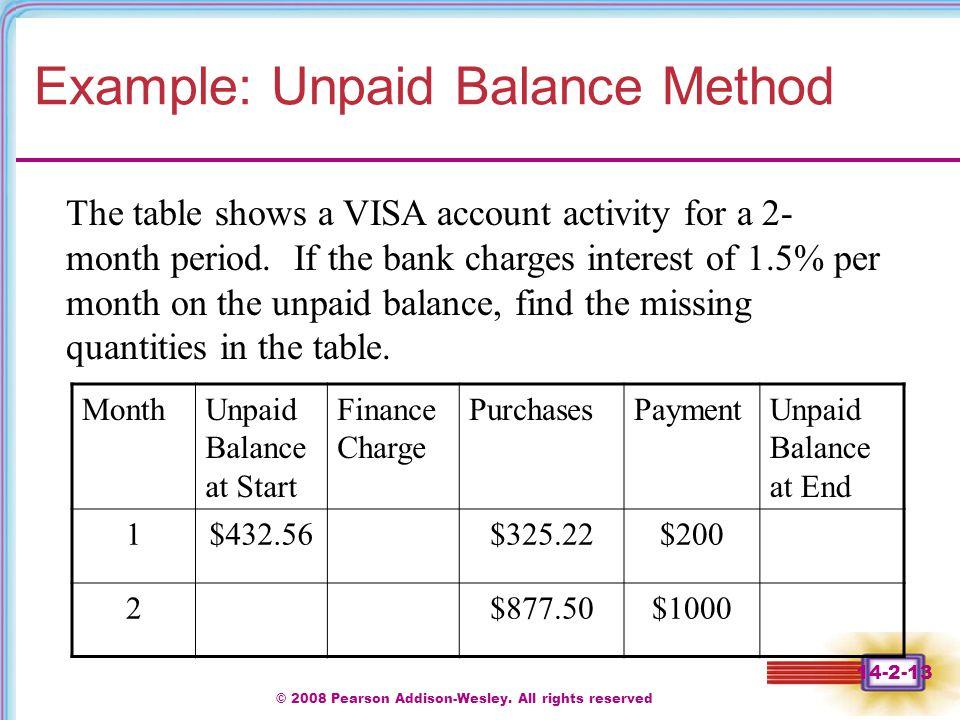 Example: Unpaid Balance Method
