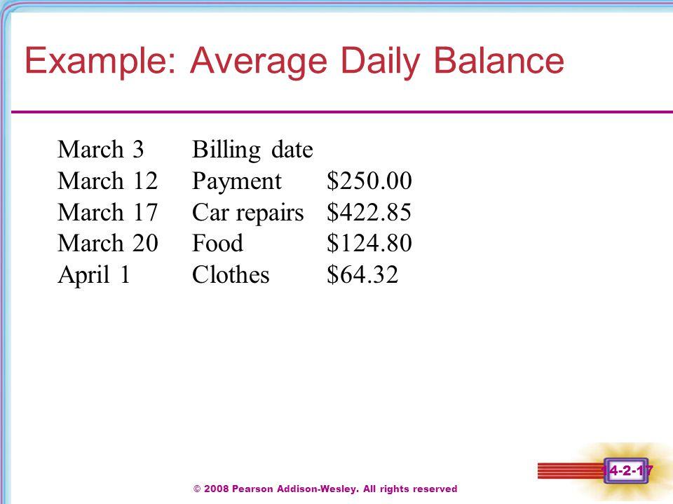 Example: Average Daily Balance