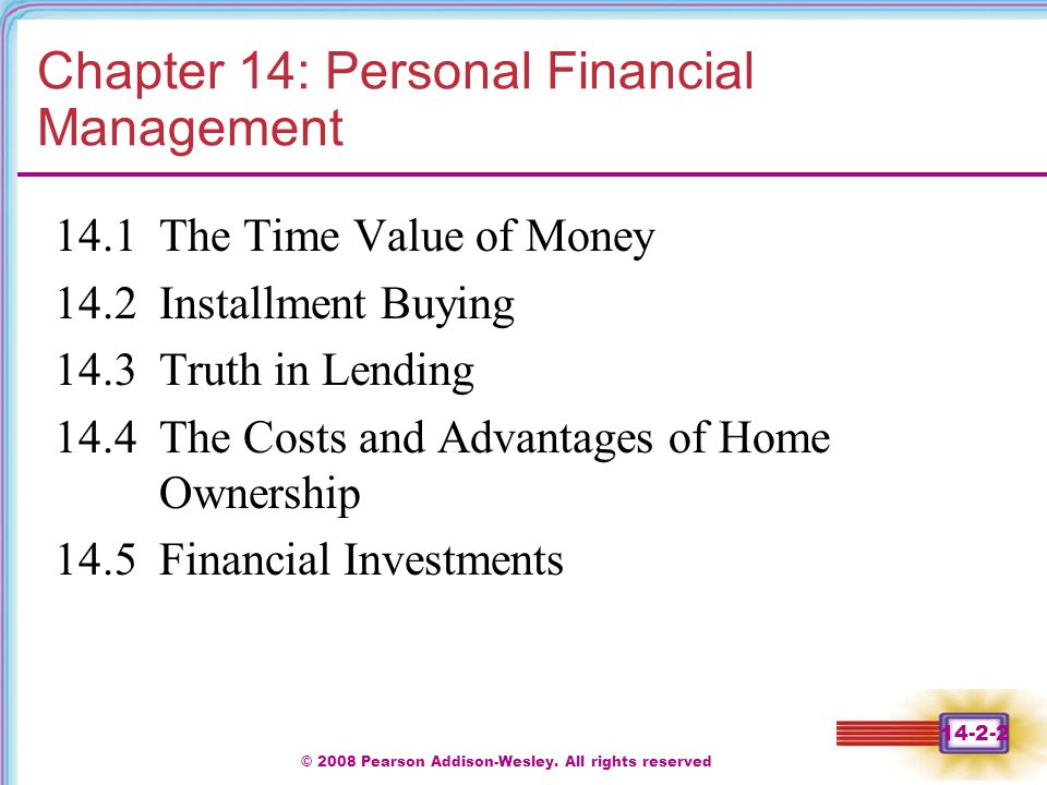 Chapter 14: Personal Financial Management