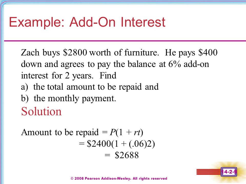 Example: Add-On Interest