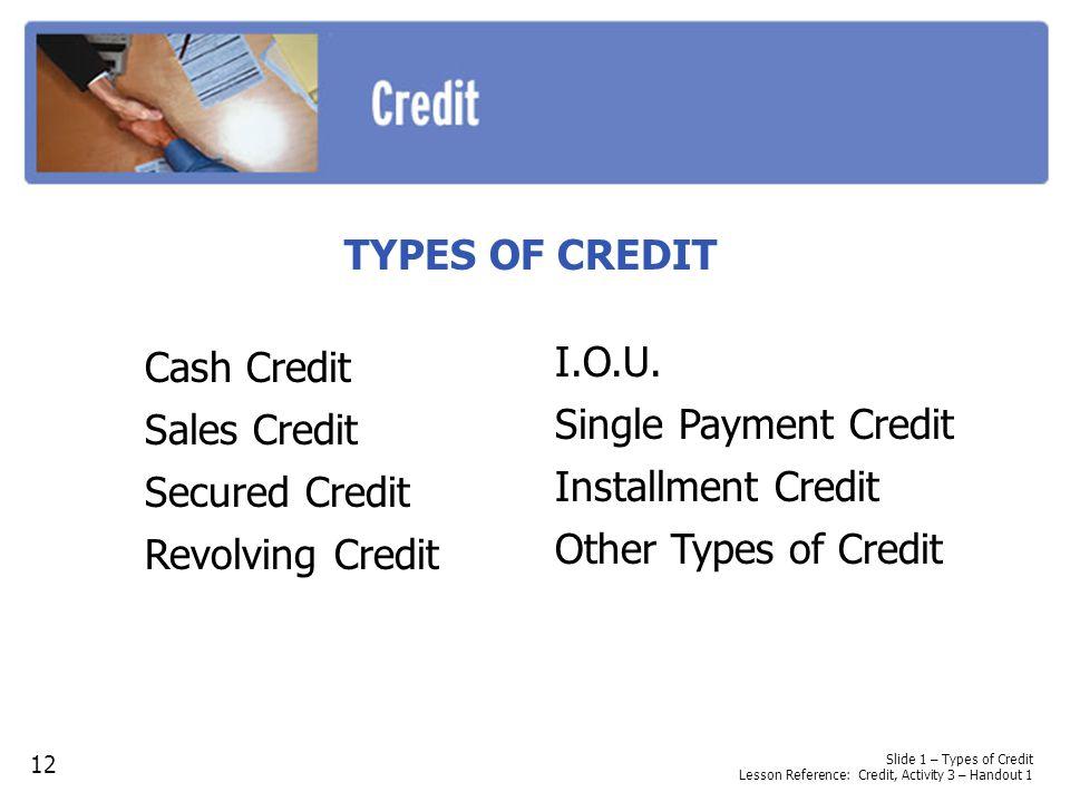 TYPES OF CREDIT Cash Credit Sales Credit I.O.U. Secured Credit