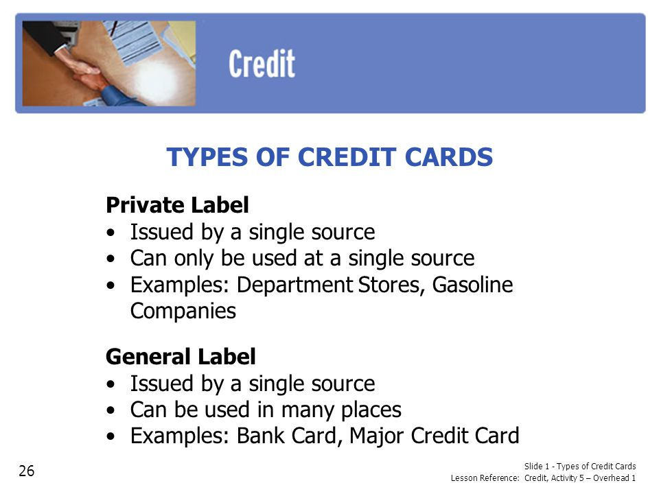 TYPES OF CREDIT CARDS Private Label Issued by a single source