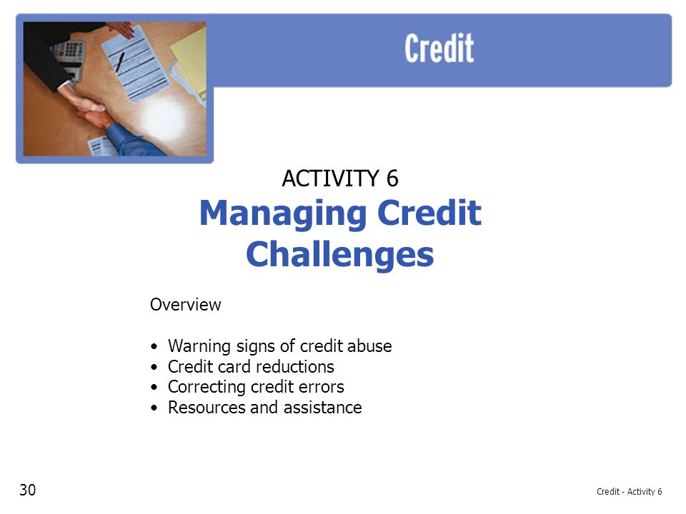Managing Credit Challenges