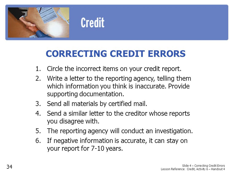 CORRECTING CREDIT ERRORS