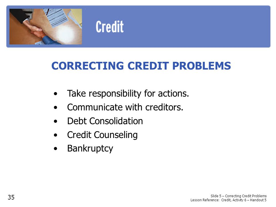 CORRECTING CREDIT PROBLEMS
