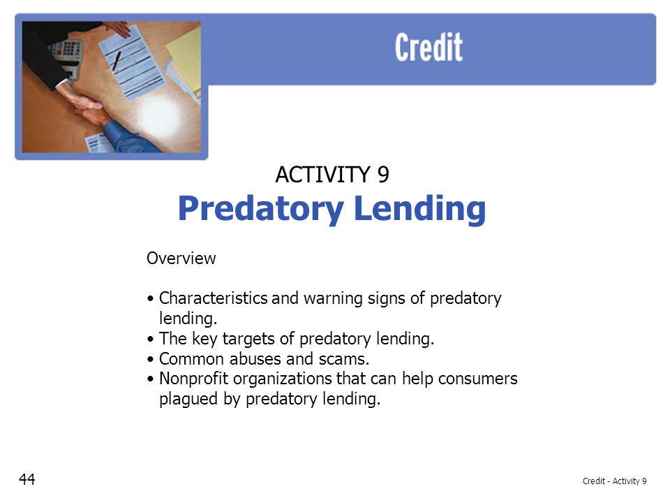 Predatory Lending ACTIVITY 9 Overview