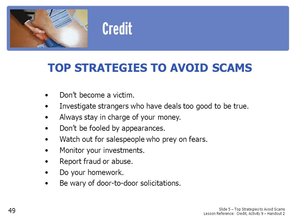 TOP STRATEGIES TO AVOID SCAMS