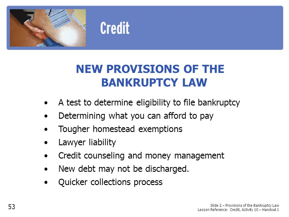 NEW PROVISIONS OF THE BANKRUPTCY LAW