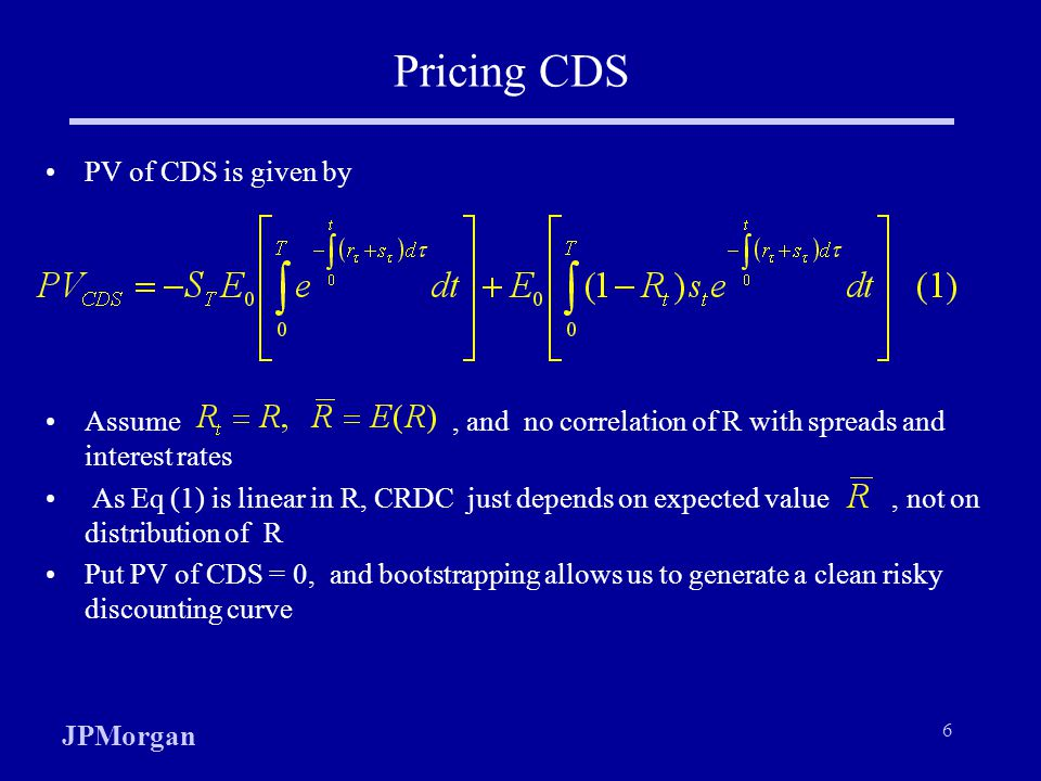 Pricing CDS PV of CDS is given by