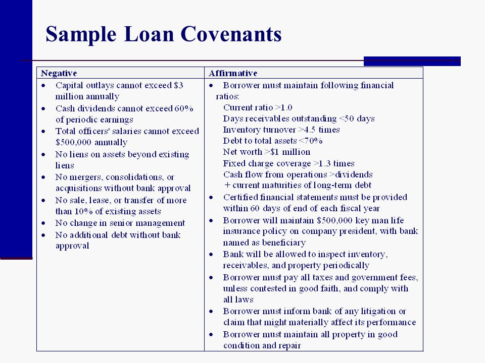 Sample Loan Covenants