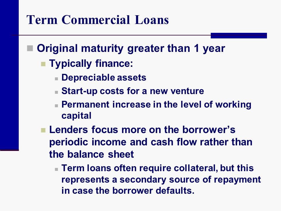 Term Commercial Loans Original maturity greater than 1 year