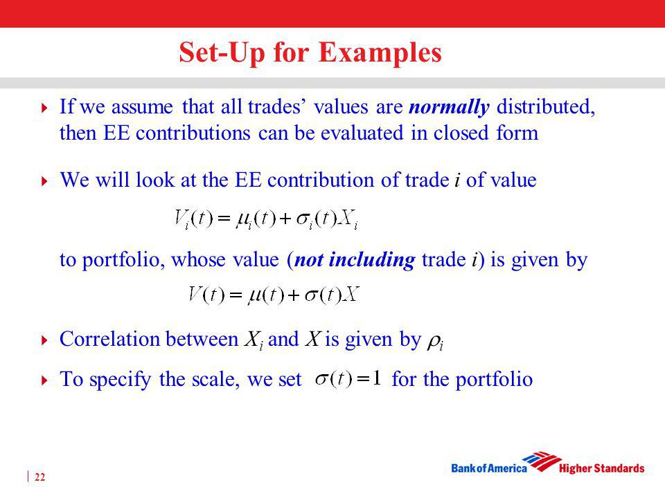 Set-Up for Examples If we assume that all trades' values are normally distributed, then EE contributions can be evaluated in closed form.