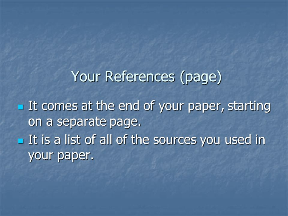 Your References (page)