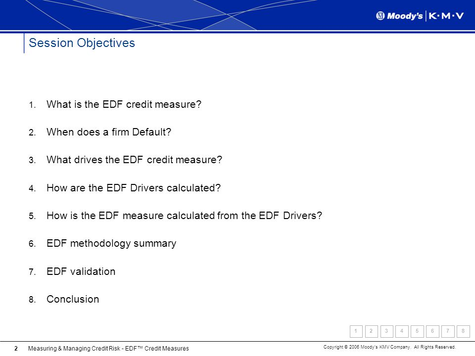 Session Objectives What is the EDF credit measure