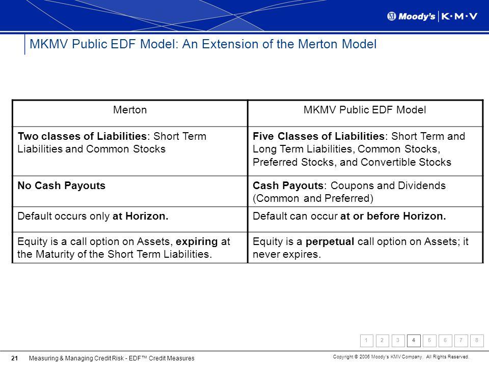 MKMV Public EDF Model: An Extension of the Merton Model