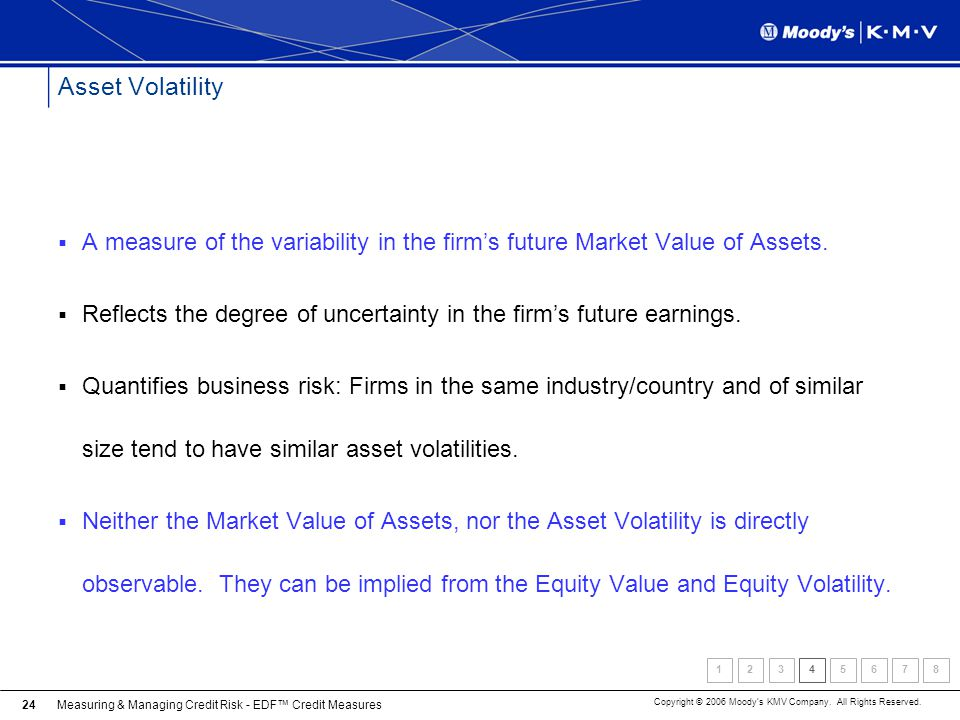 Asset Volatility A measure of the variability in the firm's future Market Value of Assets.