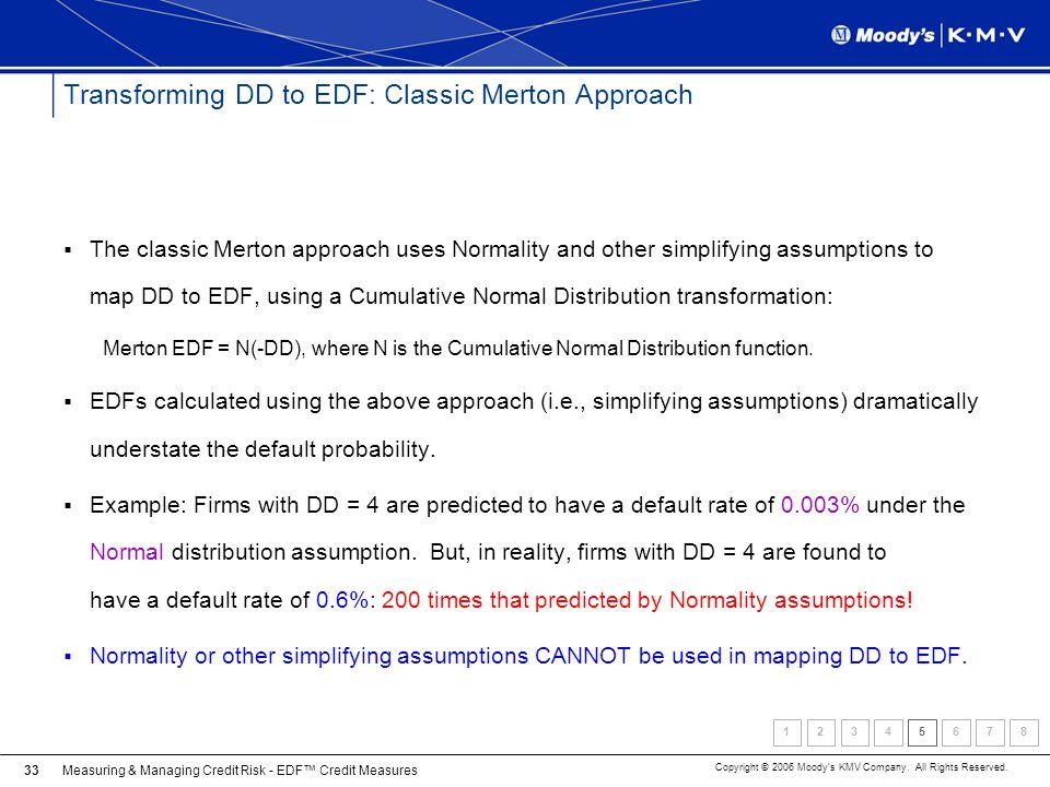 Transforming DD to EDF: Classic Merton Approach