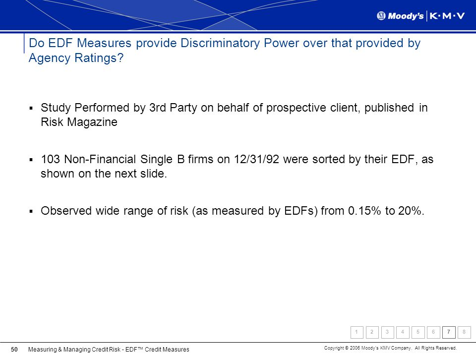 Do EDF Measures provide Discriminatory Power over that provided by Agency Ratings