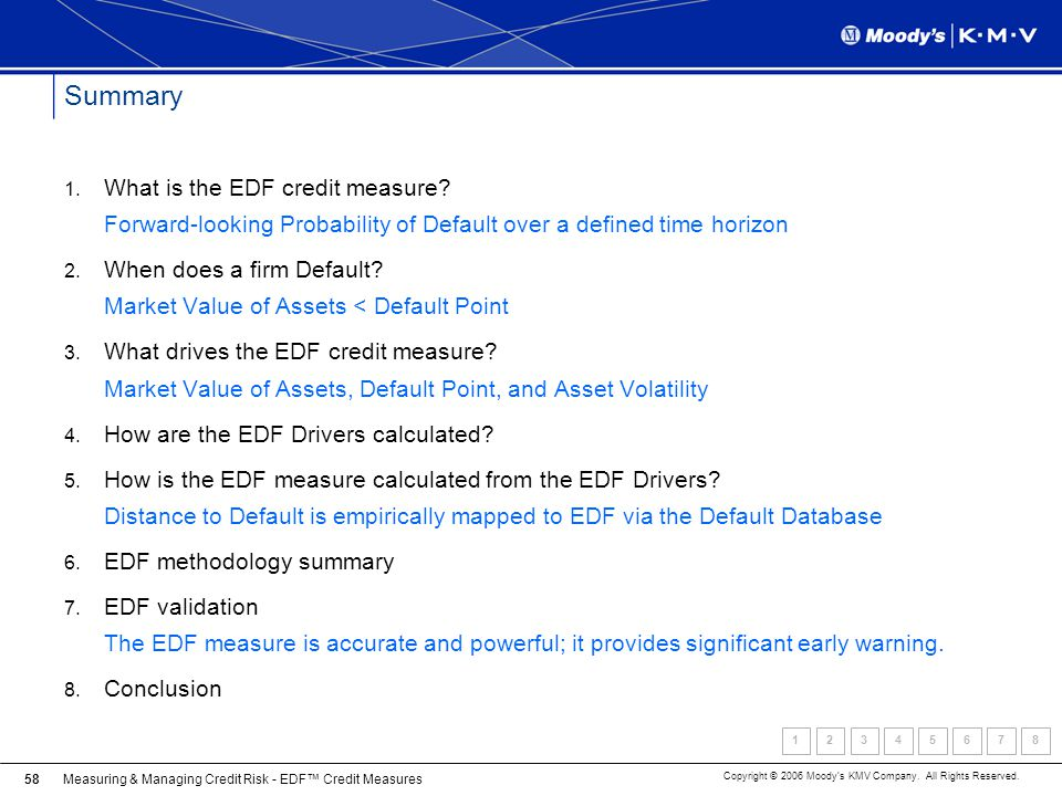 Summary What is the EDF credit measure Forward-looking Probability of Default over a defined time horizon.
