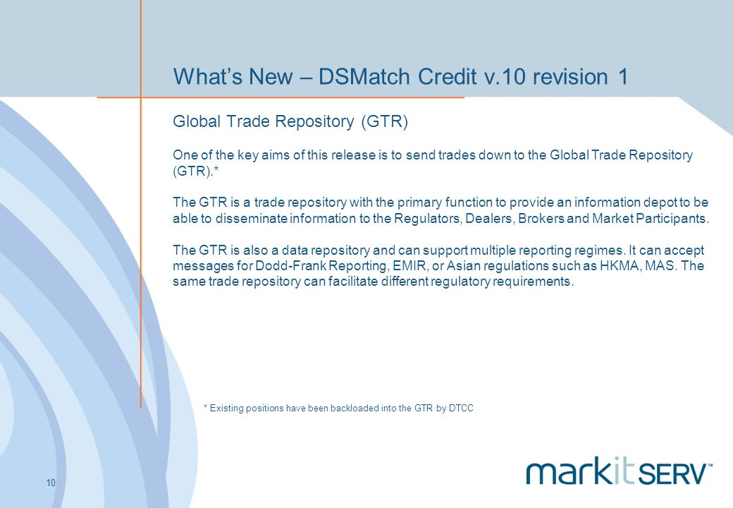 What's New – DSMatch Credit v.10 revision 1