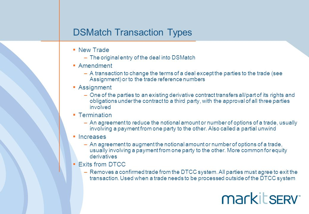 DSMatch Transaction Types
