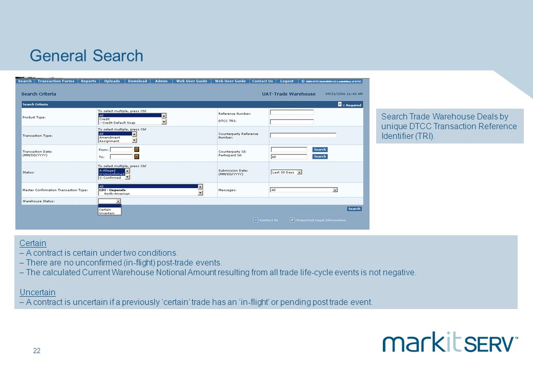 General Search Search Trade Warehouse Deals by unique DTCC Transaction Reference Identifier (TRI). Certain.