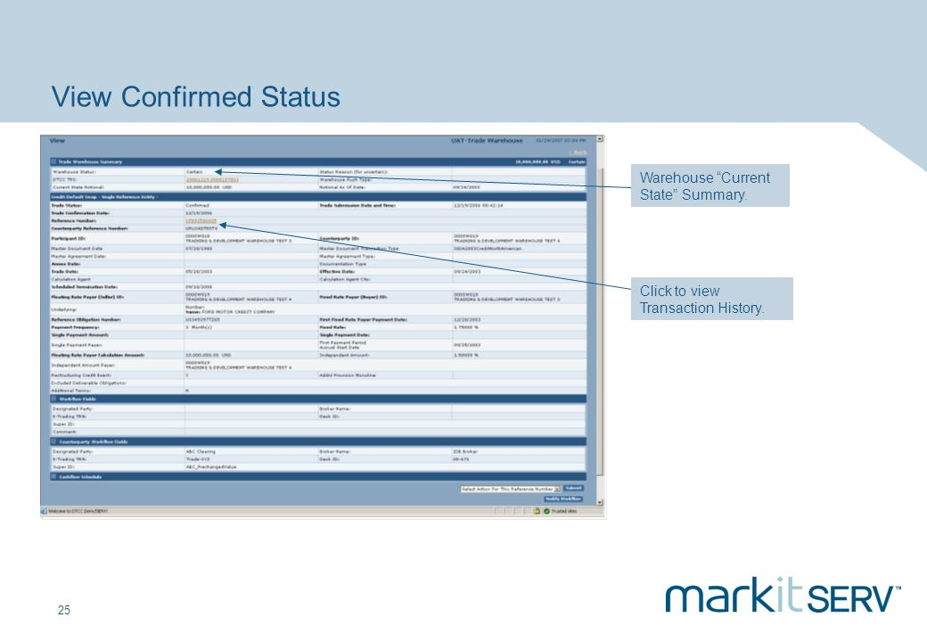 View Confirmed Status Warehouse Current State Summary.