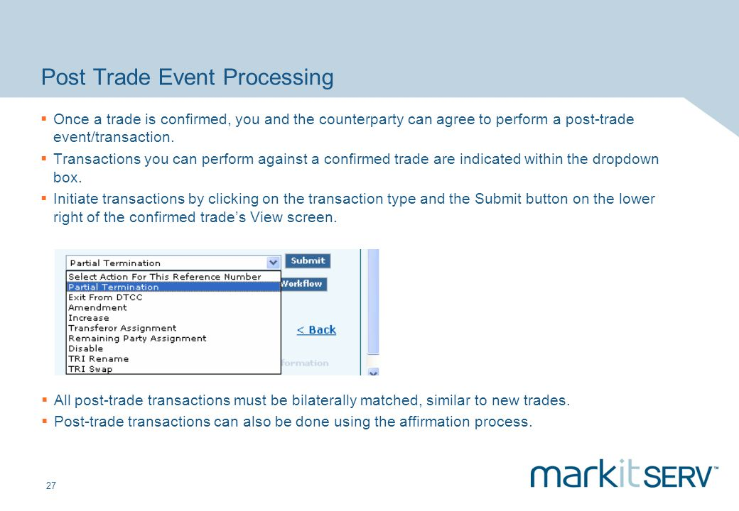 Post Trade Event Processing