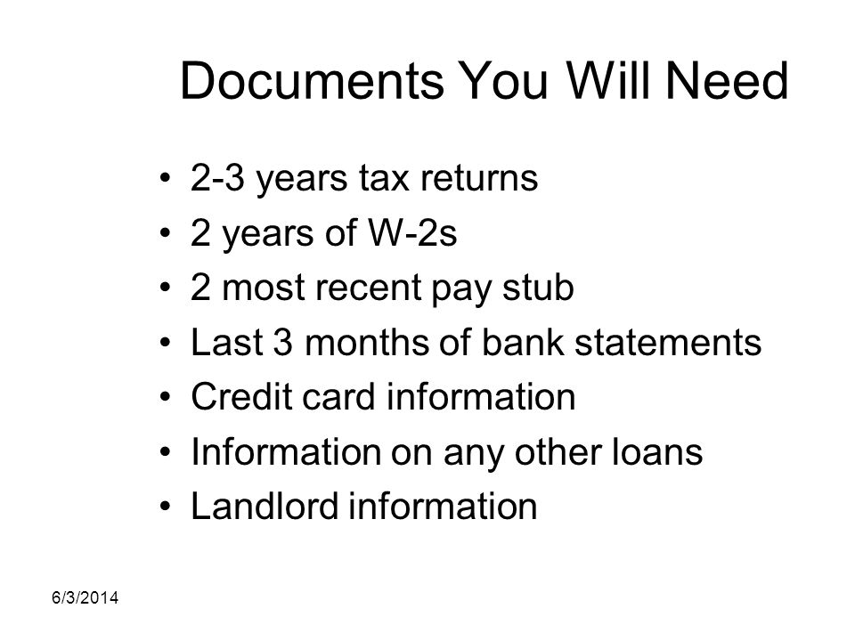Documents You Will Need