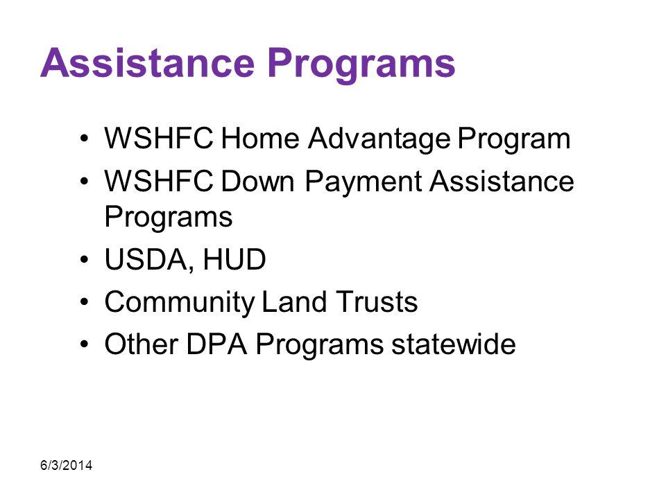 Assistance Programs WSHFC Home Advantage Program