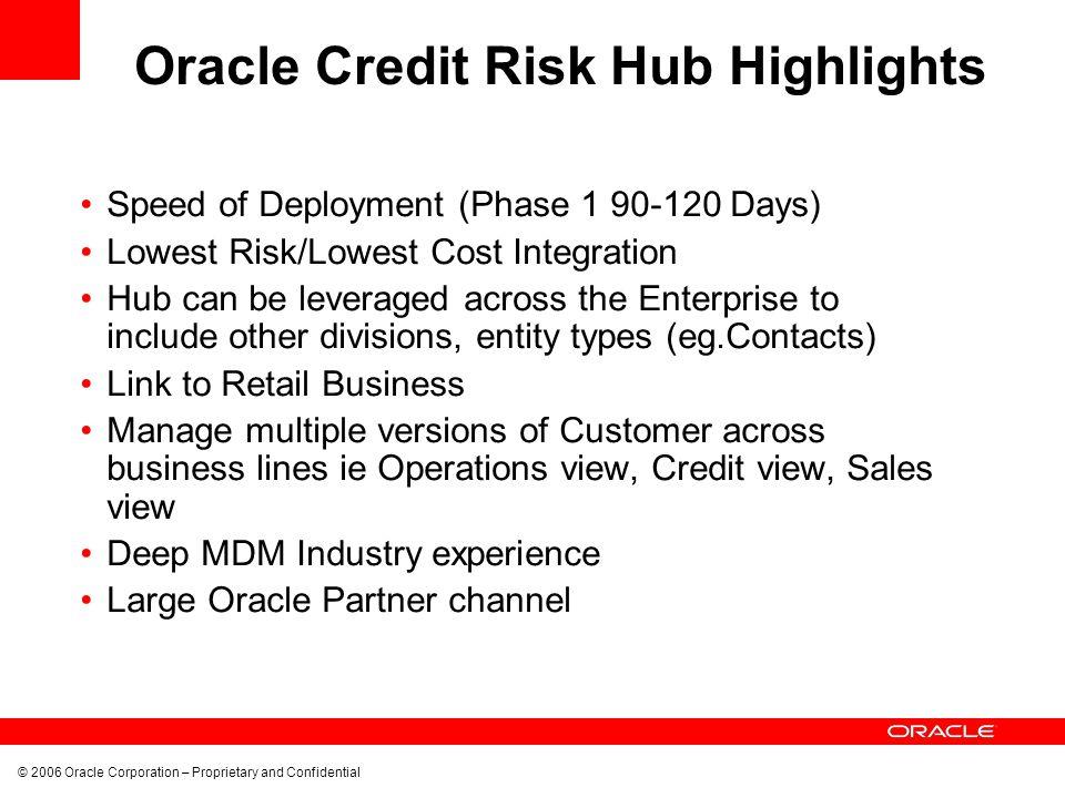Oracle Credit Risk Hub Highlights