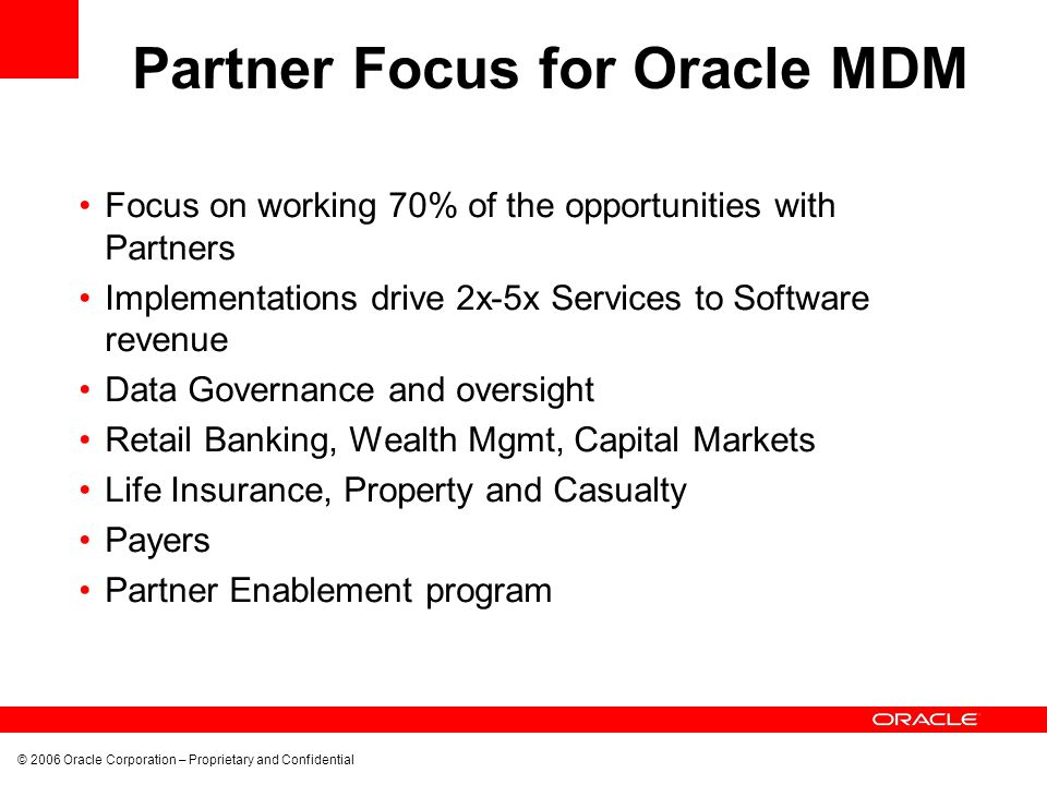 Partner Focus for Oracle MDM