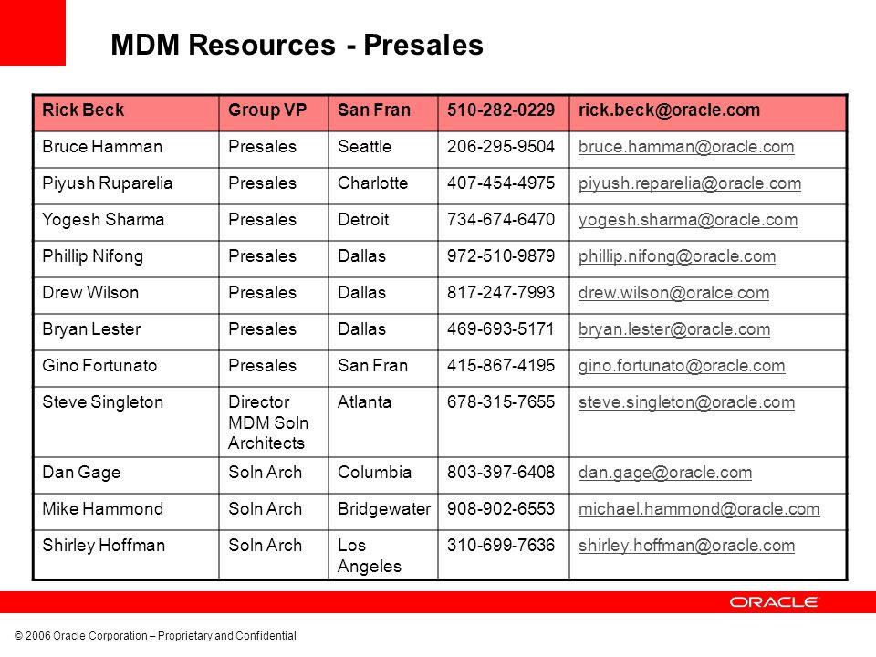 MDM Resources - Presales
