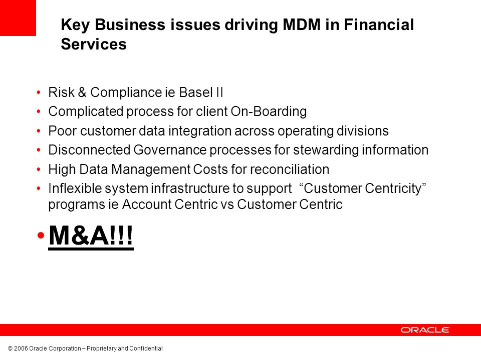 Key Business issues driving MDM in Financial Services