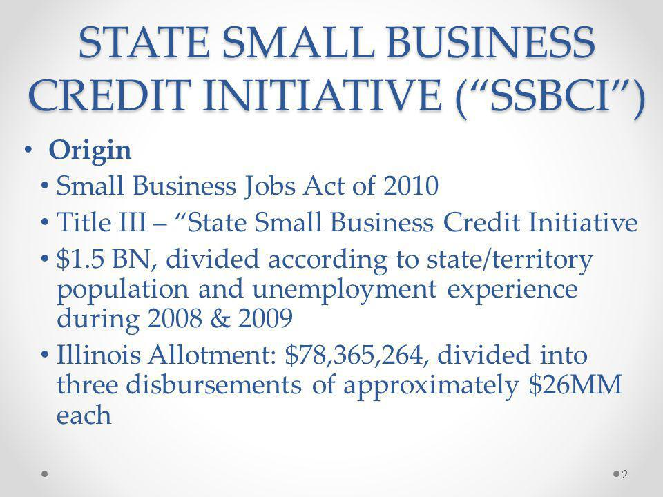 STATE SMALL BUSINESS CREDIT INITIATIVE ( SSBCI )
