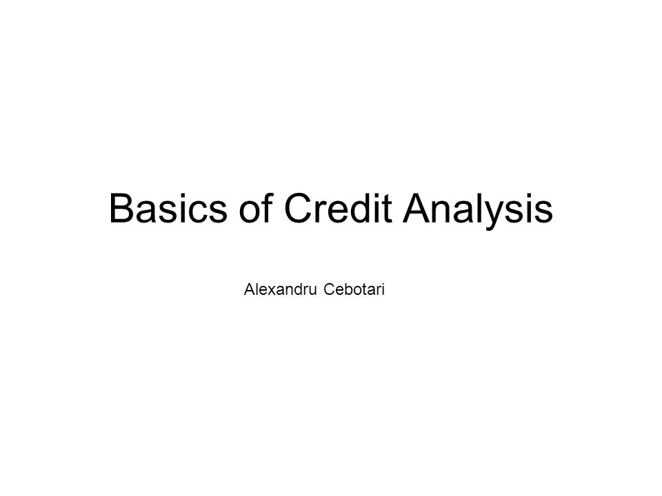 Basics of Credit Analysis