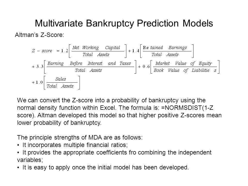 Multivariate Bankruptcy Prediction Models