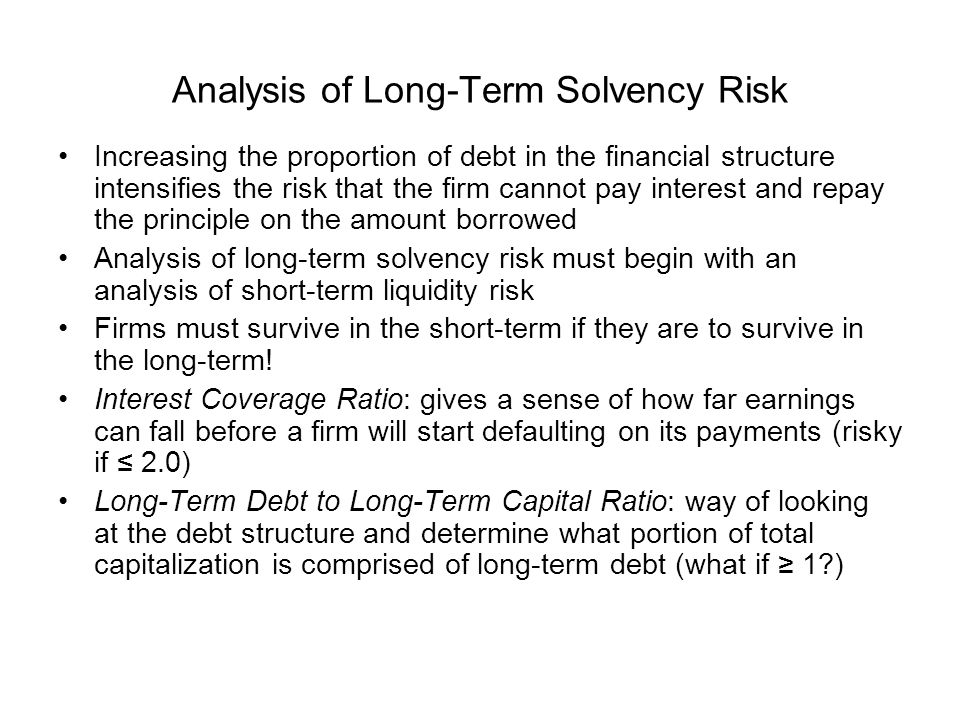 Analysis of Long-Term Solvency Risk